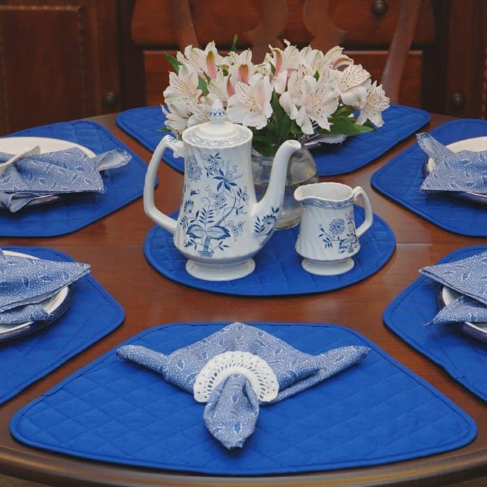 tischdeko blau blaue akzente servietten schildkröte