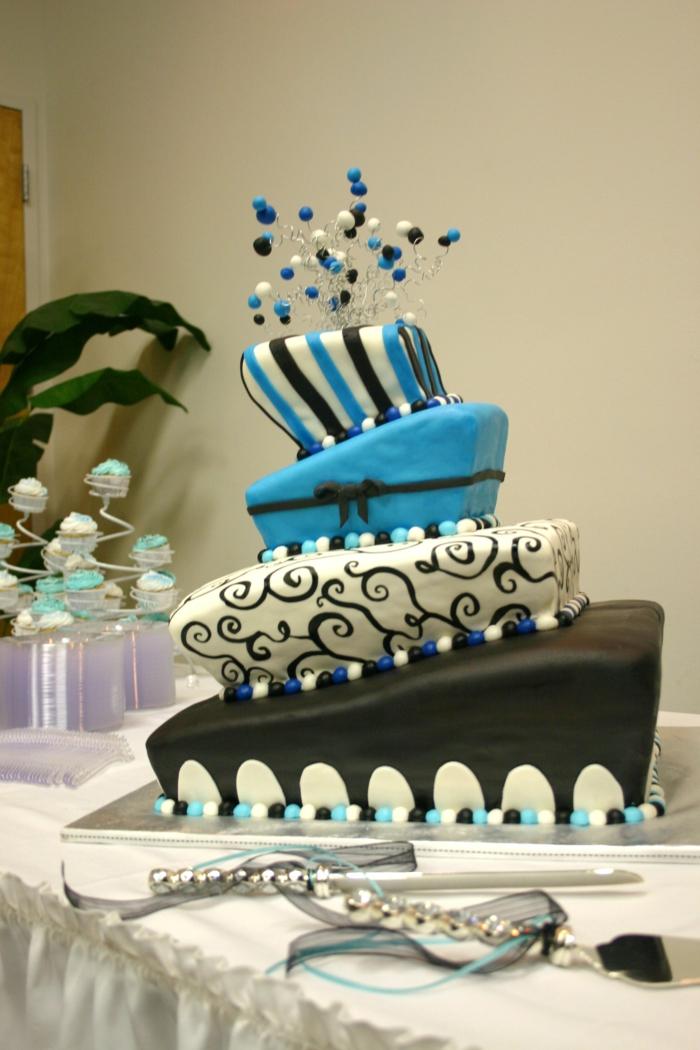 Tischdeko Blau Torte Hochzeit Feiern