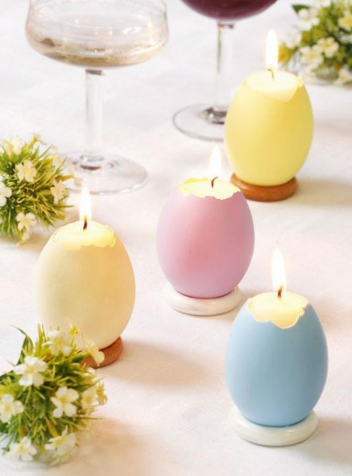 tischdeko ostern ostertischdekoration ideen diy kerzen selber gießen pastellfarben