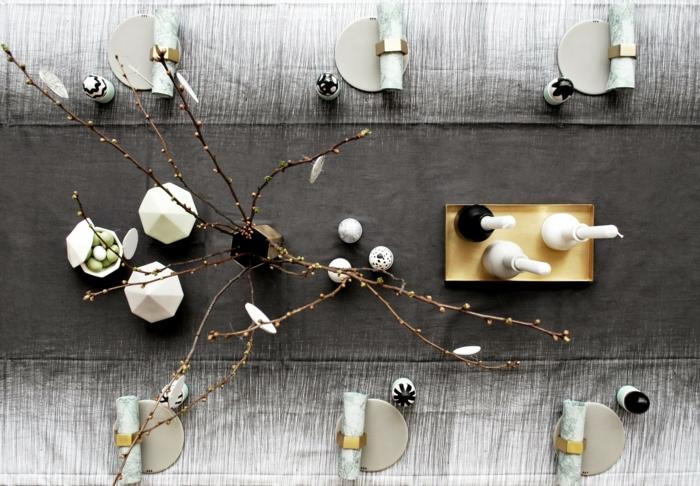 tischdeko ostern ostertischdekoration ideen diy skandinavisch puristische dekoration ostereier färben