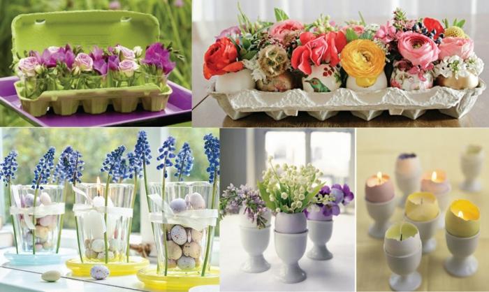 tischdeko ostern ostertischdekoration ideen ostereier diy deko eierschalen vasen frühlingsblmen wachteleier