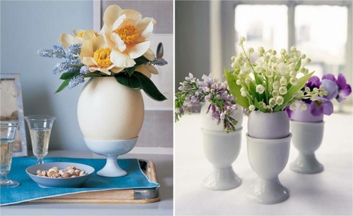 tischdeko ostern ostertischdekoration ideen ostereier eierschalen vasen frühlingsblumen eierbecher