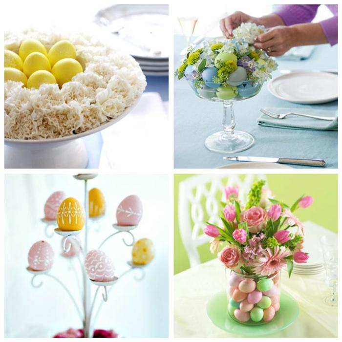 tischdeko ostern ostertischdekoration ideen ostereier färben pastellfarben rosa gelb frühlingsblumen