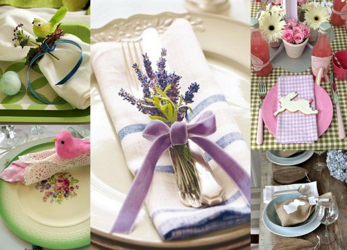 tischdeko ostern ostertischdekoration ideen ostereier frühlingsblumen kräuter lavendel