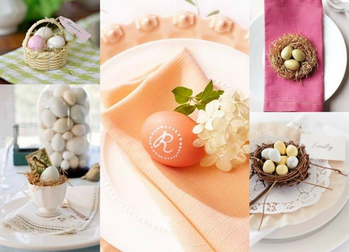 tischdeko-osternostertischdekoration ideen ostereier pastellfarben puristische dekoration osterkorb nest eierbecher