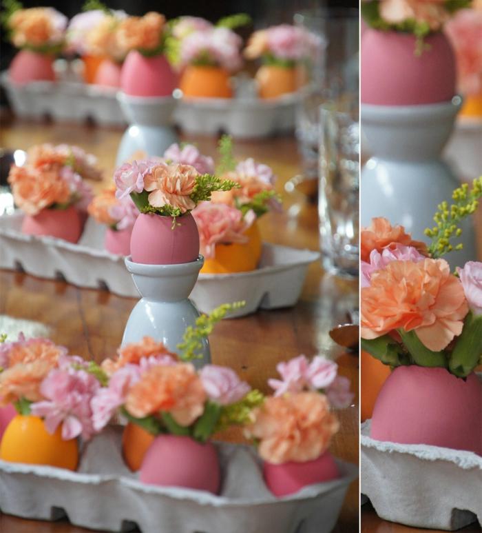 tischdeko ostern ostertischdekoration ideen rosa eierschalen vasen frühlingsblumen eierkartons