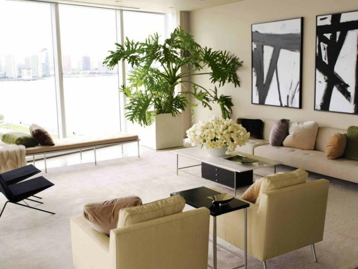 topfpflanzen wohnzimmer dekoideen pflanzen helles interieur