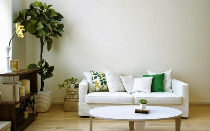 topfpflanzen wohnzimmer weißes sofa pflanzen helle wände