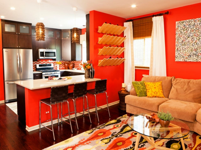 Wandfarbe Ideen Küche Orange Offener Wohnplan