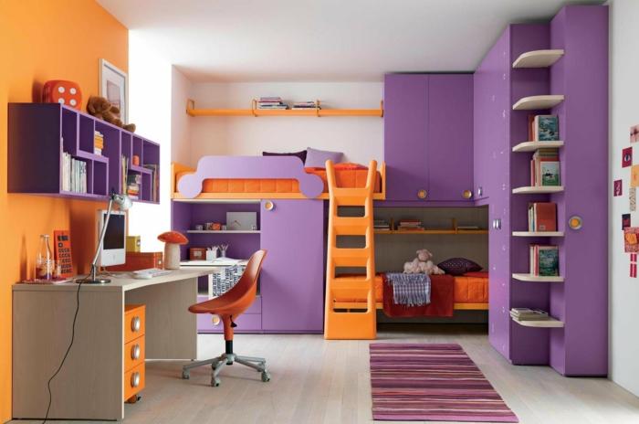 wandfarbe ideen kinderzimmer orange lila kombinieren teppichläufer