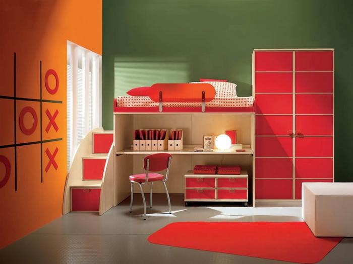 Kinderzimmer Wandfarbe Grun : 60 Wandfarbe Ideen in Orange – Naturinspirierte Gestaltung für alle