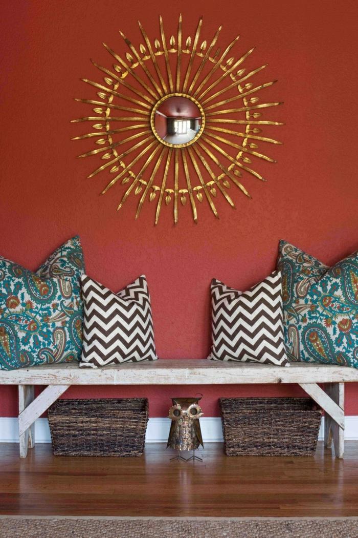 wandfarbe ideen orange farbnuancen dekokissen