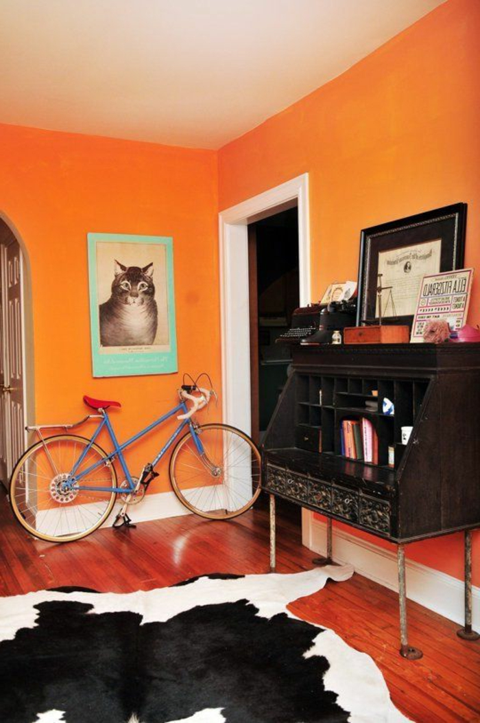 wandfarbe ideen orange richtige farbe auswählen fellteppich