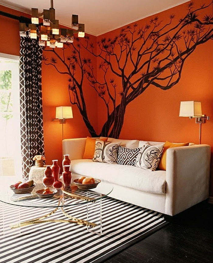 60 wandfarbe ideen in orange naturinspirierte gestaltung Orange and red living room design