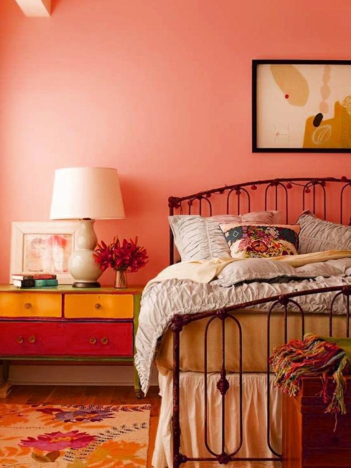 wandfarbe ideen orangenuancen warme farbtöne schlafzimmer einrichten