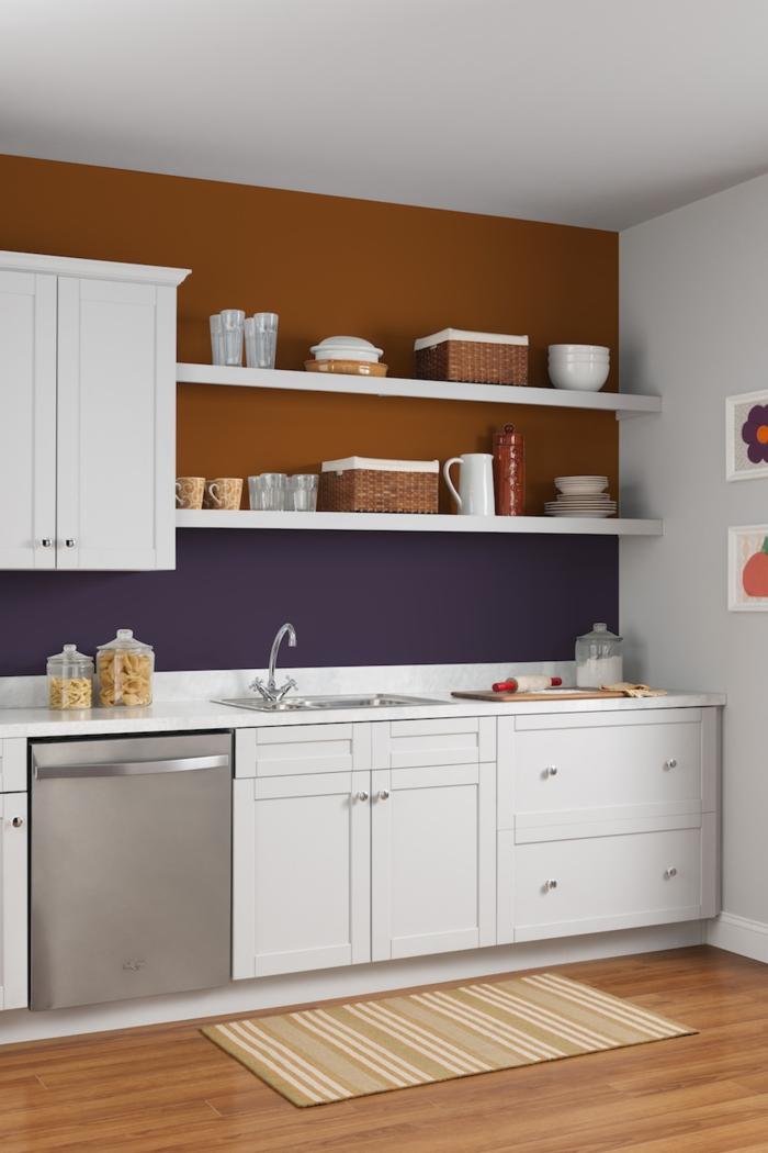 wandfarbe ideen wohnideen küche lila kombination