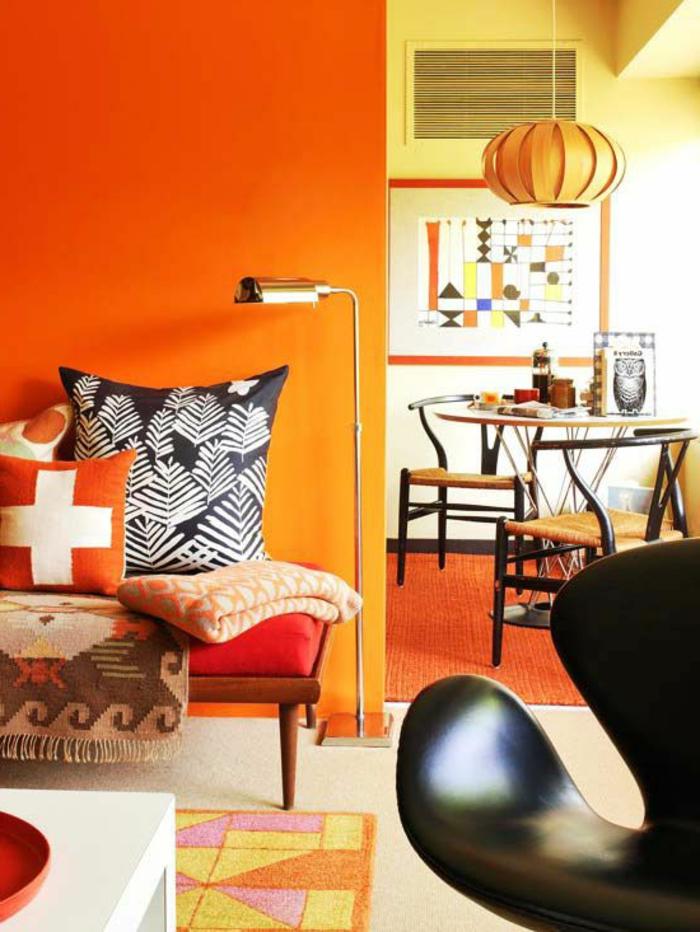 wandfarbe ideen wohnideen wohnzimmer orange wände farbige elemente