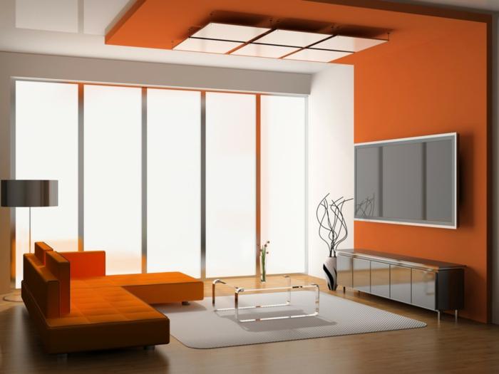 wandfarbe ideen wohnideen wohnzimmer orange wände oranges sofa