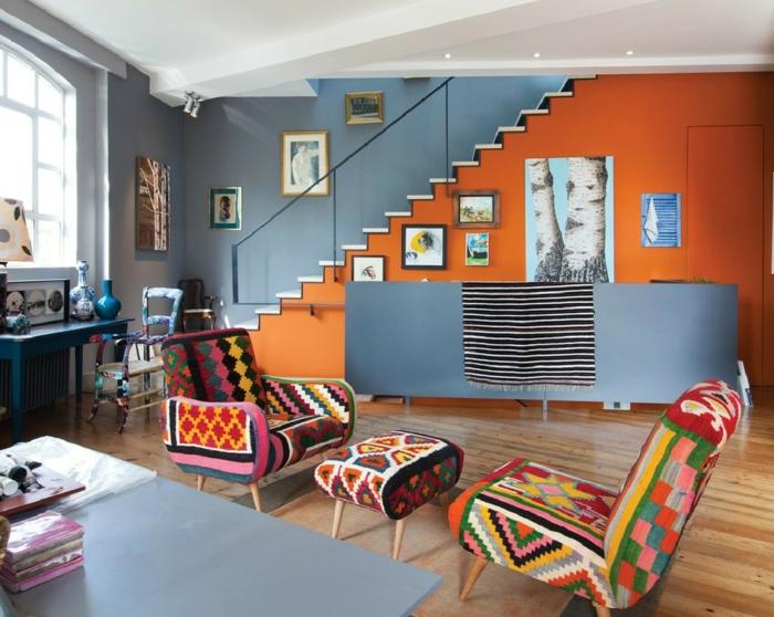 wandfarbe ideen wohnzimmer blaue wände farbige möbel