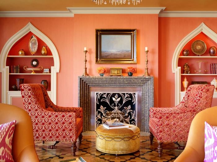 60 wandfarbe ideen in orange ? naturinspirierte gestaltung für ... - Wohnzimmer Orange Weis