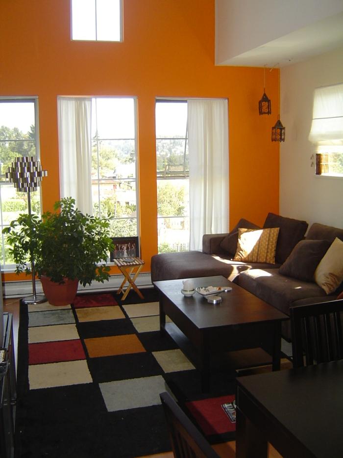 wandfarbe ideen wohnzimmer gestalten orange wände pflanzen