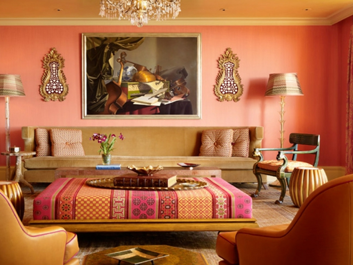 wandfarbe ideen wohnzimmer marokkanischer stil orange wände