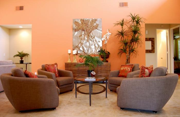 wandfarbe ideen wohnzimmer orange wände pflanzen