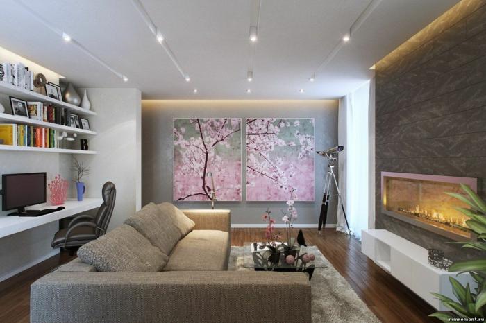 wandgestaltung wanddeko frühlingsblüten ethanolkamin eingebaut sofa couchtisch glas schreibtisch bürostuhl