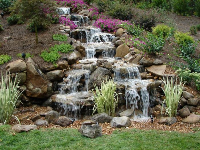 Hervorragend Wasserfall Garten Hinterhof Gestalten Ideen Gartendeko