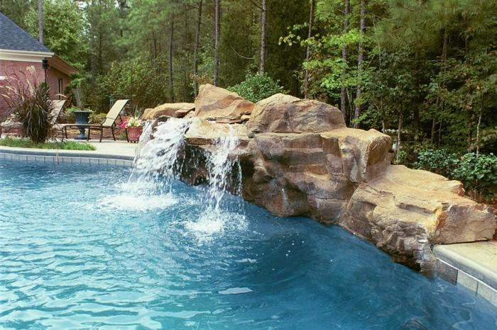 Wasserfall Garten Schwimmbad Außenbereich Gestalten