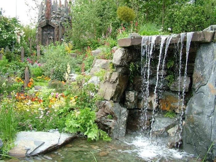 wasserfall im garten gartenideen wasser pflanzen