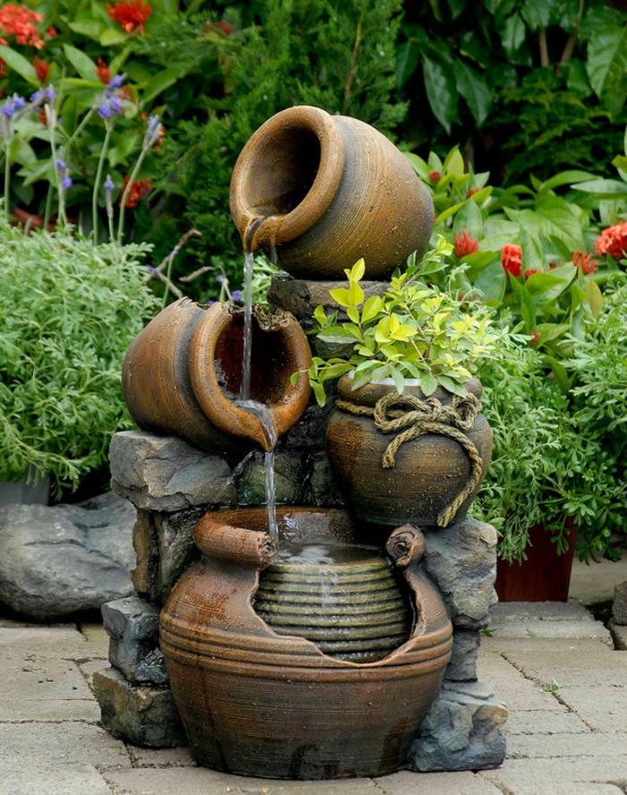 wasserfall im garten klein attraktiv gartengestaltung ideen pflanzen
