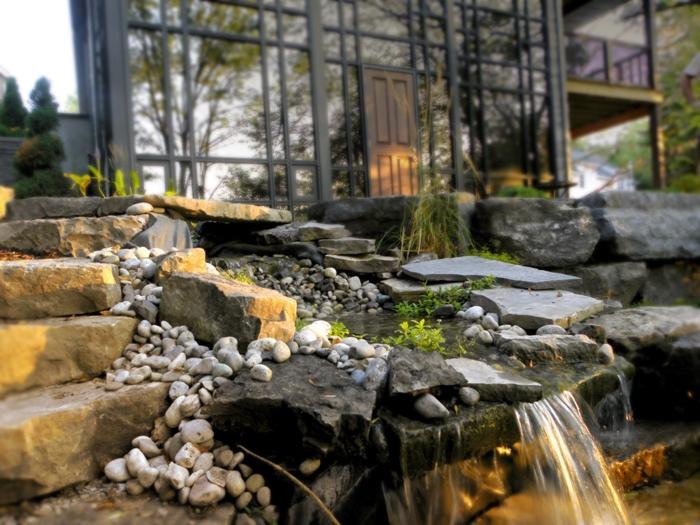 Wasserfall Im Garten Selber Bauen - 99 Ideen, Wie Sie Die Harmonie ... Wasserfalle Fur Den Garten