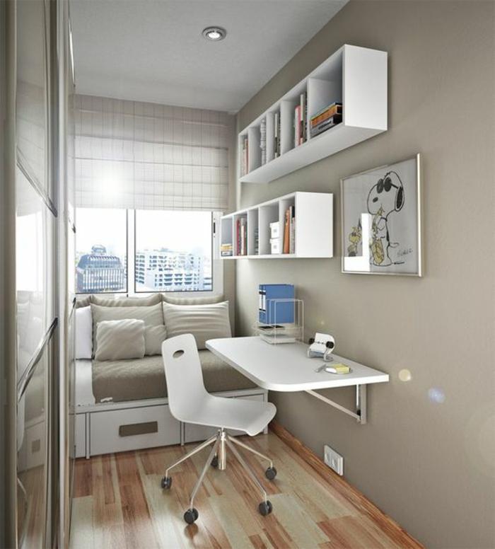 weißer Klappschreibtisch kleines Home Office einrichten
