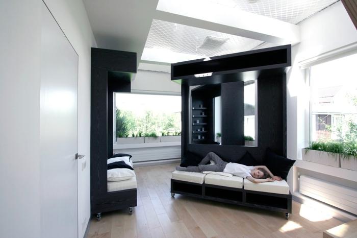 wohnraumgestaltung einzimmerwohnung mobile möbel couch raumteiler