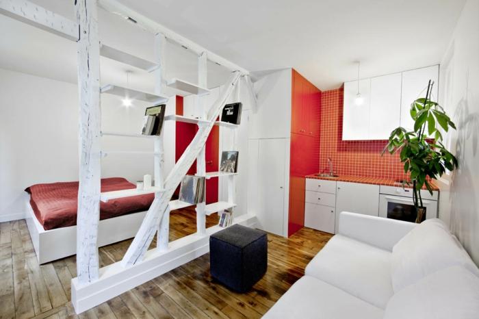 wohnraumgestaltung einzimmerwohnung schlafbereich küche wohnbereich raumtrenner