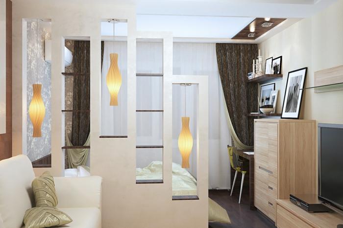 wohnraumgestaltung einzimmerwohnung schlafbereich wohnbereich raumtrenner regale pendelleuchten