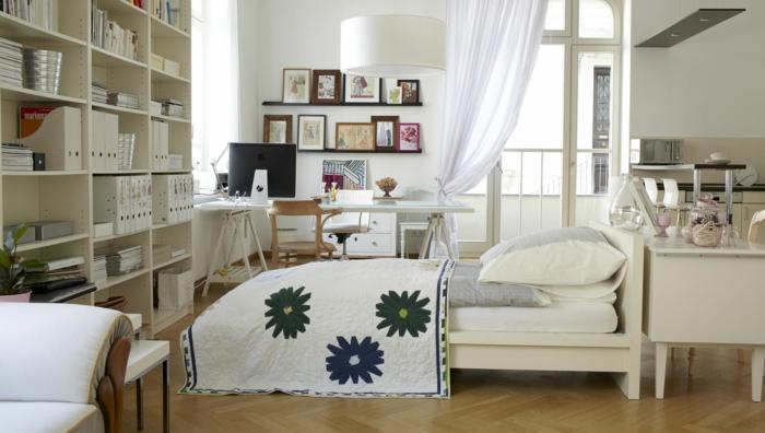 wohnraumgestaltung einzimmerwohnung wohnbereiche bett schreibtisch home office