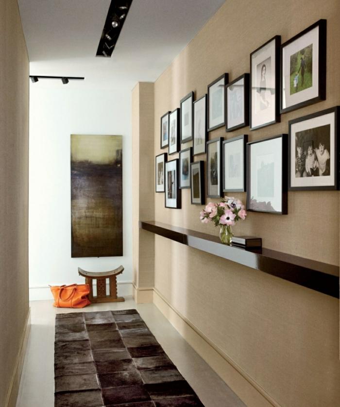 wohnraumgestaltung flur teppichläufer ablagefläche