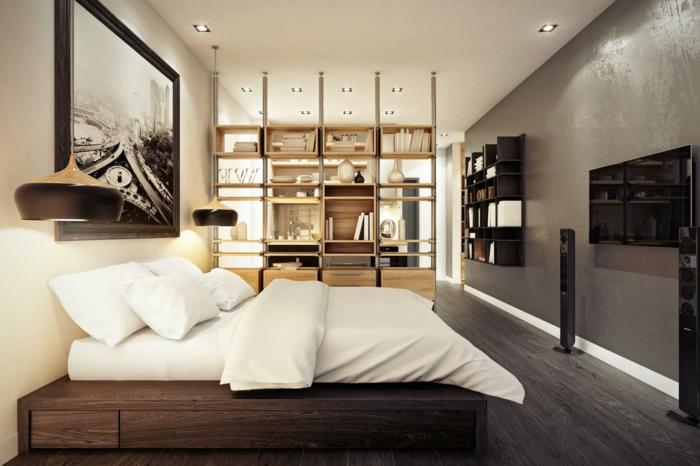 wohnraumgestaltung schlafzimmer raumteiler regale wandregale