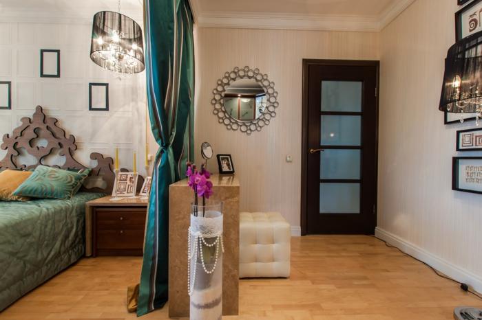 wohnraumgestaltung schlafzimmer raumteiler vorhänge
