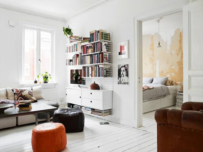 wohnraumgestaltung weiße wände wandregale bücherregale wohnzimmer ideen