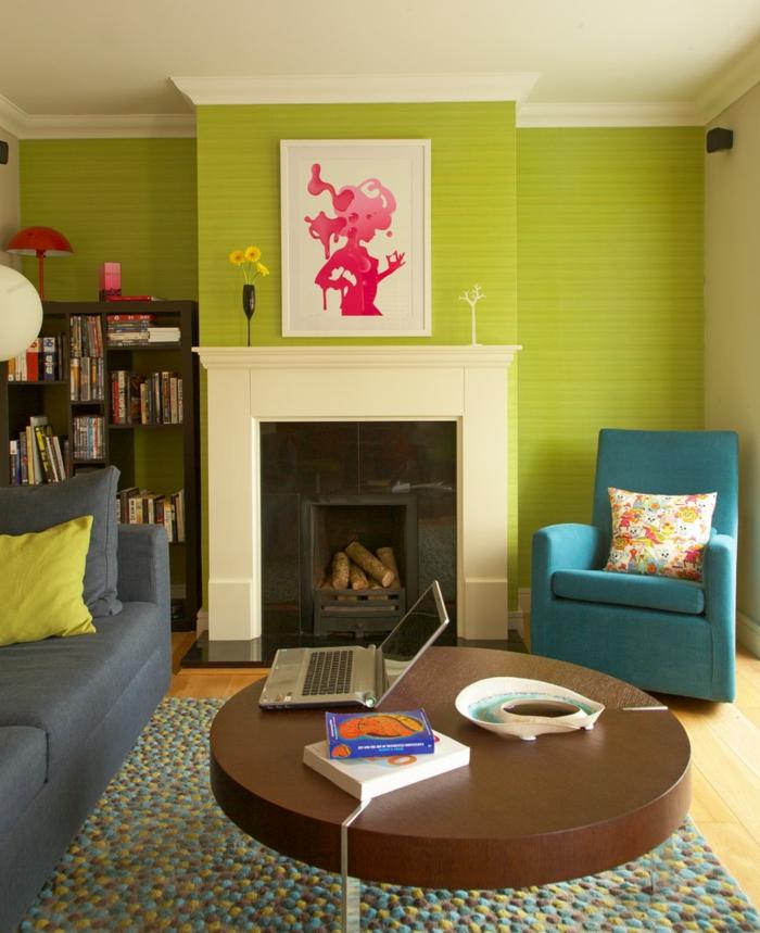 60 wohnungseinrichtung ideen die fr hlingsfarben in der inneneinrichtung - Wandfarbe kamin ...