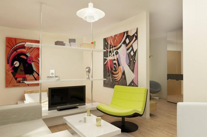 50er jahre stil retro einrichtung innovative möbel designer sessel neongelb weißer couchtisch sofa moderne wandkunst