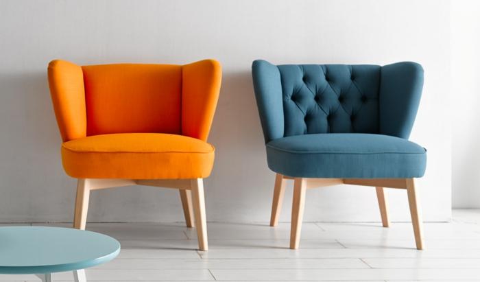 50er jahre stil retro einrichtung sessel polstermöbel orange blau