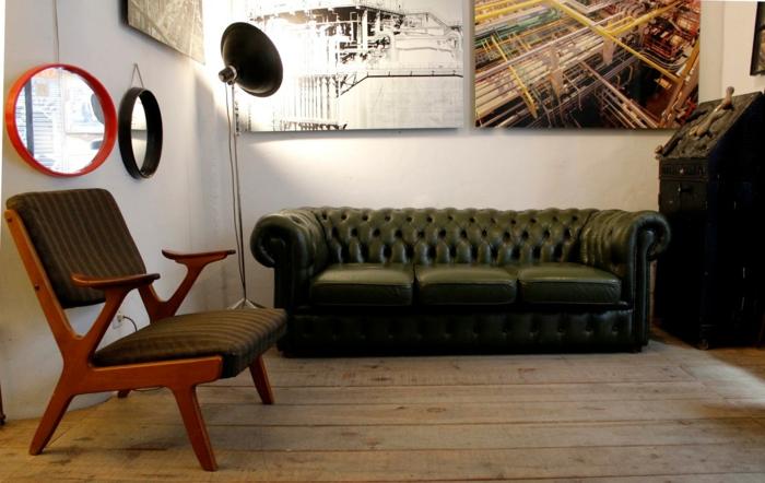 50er jahre stil retroeinrichtung einrichten sessel chesterfield couch leder stehleuchte