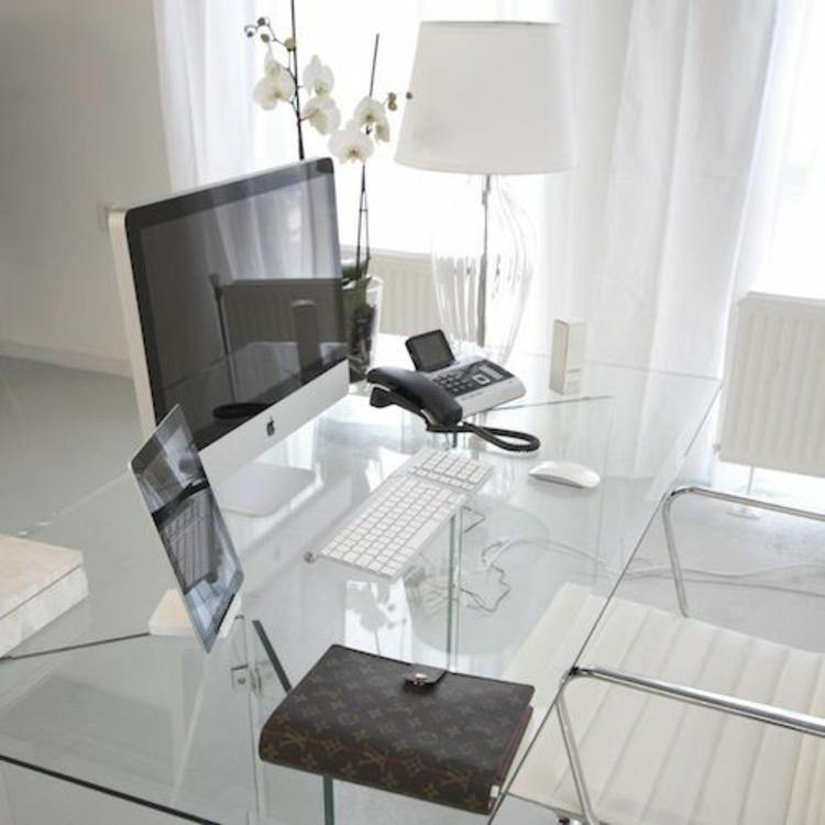 Büroeinrichtung Büromöbel Glasschreibtisch Home Office skandinavisch einrichten