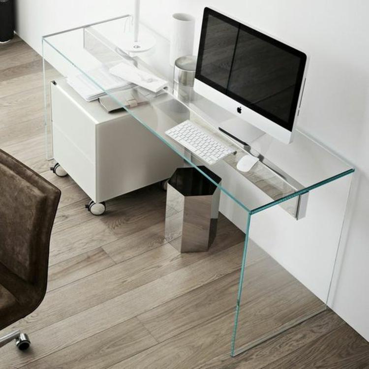 Büroeinrichtung Bürotisch komplett Glas Glasschreibtisch Home Office einrichten