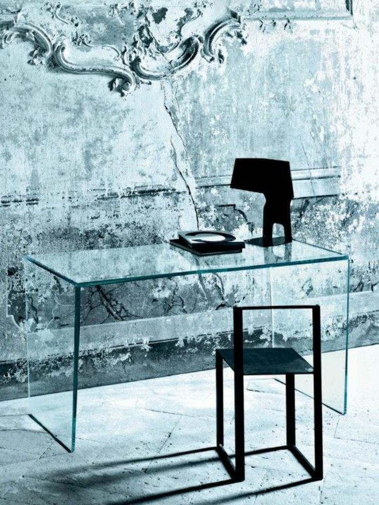 Büroeinrichtung Ideen Glasschreibtisch Home Office einrichten