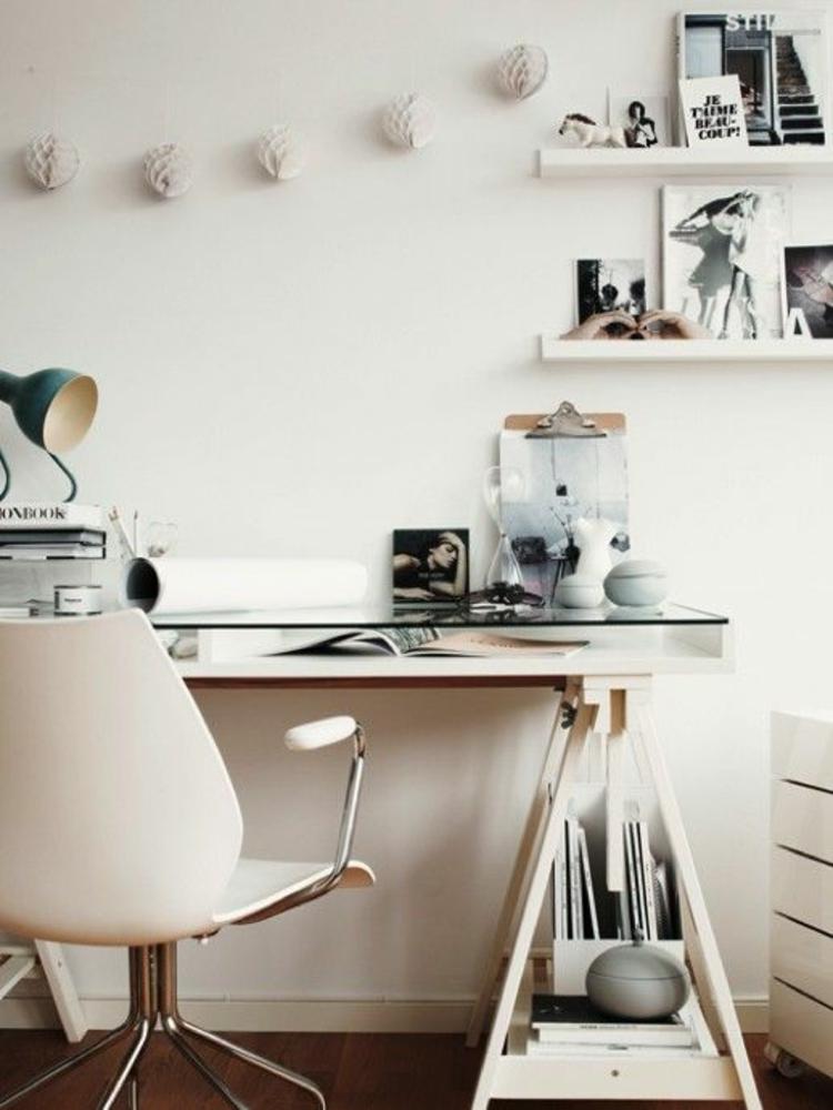 Büromöbel Glasschreibtisch Home Office einrichten skandinavisches Design